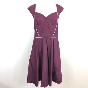eShakti Burgundy Fit & Flare Dress Piped Trim
